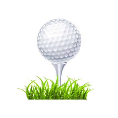 Golfball auf weißem T-Stück realistische Vektorillustration isoliert Vektorgrafik