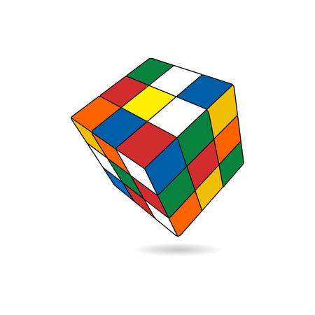 3d illustration of cube assembling from blocks Reklamní fotografie - 109644844