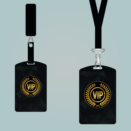 Vip member card set with lanyard. vector design and text template illustration