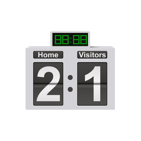 Football mechanical scoreboard with time and result display. Sport template for your design. Vector illustration. 向量圖像