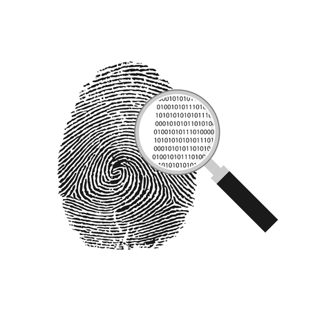 vector illustration of a magnifying glass over a fingerprint