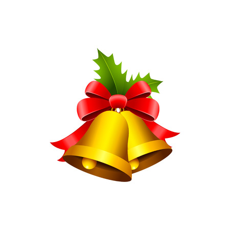 Golden Christmas bells with red bow, tinsel and Holly berries isolated on white background, illustration. Banco de Imagens - 109644870