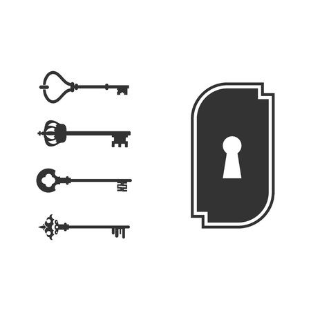 padlocks with keys isolated over white background. vector