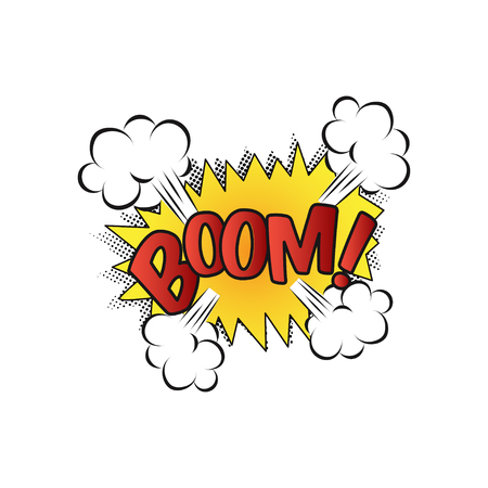 Lettering Boom, bomb. Comic text sound effects. Vector bubble icon speech phrase, cartoon exclusive font label tag expression, sounds illustration. Comics book balloon. Standard-Bild - 120066885