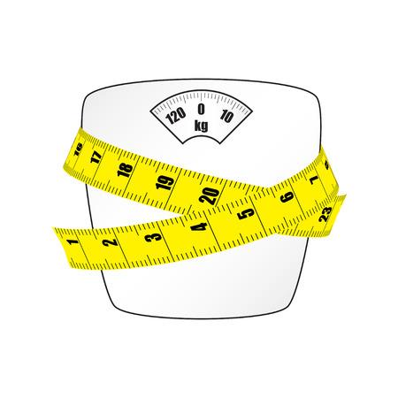 Balances pour peser avec le ruban à mesurer. Image vectorielle.