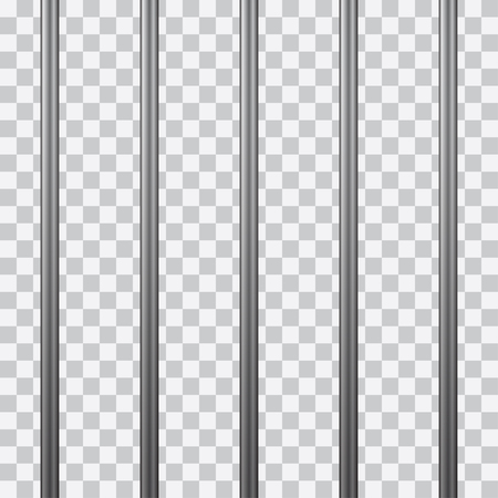 Prison bars isolated on transparent. Vector illustration.