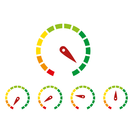 meter signs infographic gauge element from red to green and green to red vector illustration Vettoriali