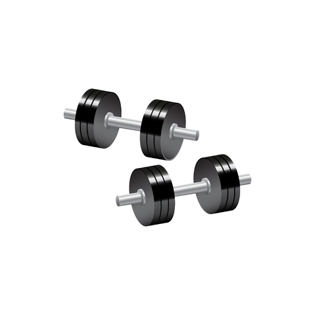 Two dumbbells leaning with clipping path