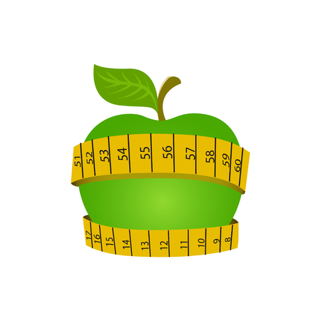 Vector illustration of Green apple with yellow measuring tape