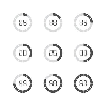 Set of simple timers. Set of nine elements. Standard-Bild - 120066891