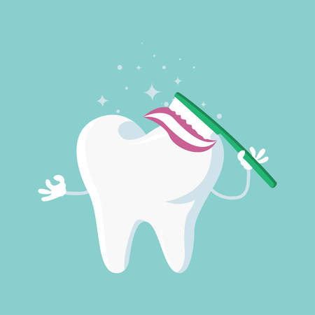 Tooth brushing.happy smiling tooth with toothbrush concept.vector flat style Standard-Bild - 120067125