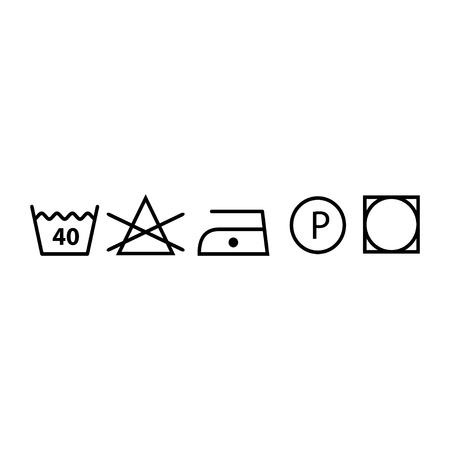 Set of washing symbols (laundry icons - bleaching, ironing and dry cleaning) Standard-Bild - 120067124