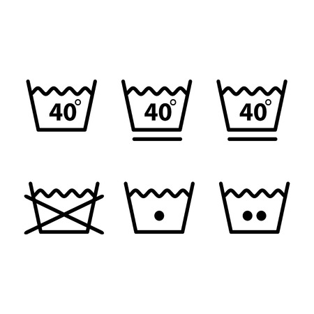 Set of washing symbols (laundry icons - bleaching, ironing and dry cleaning) Standard-Bild - 120067127