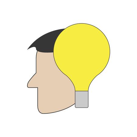 Lamp in head. Vector. Flat design. Isolated. Standard-Bild - 120067126
