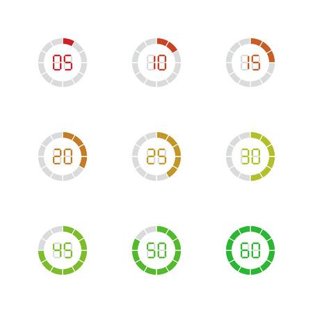 Set of simple timers. Set of nine elements. Illustration