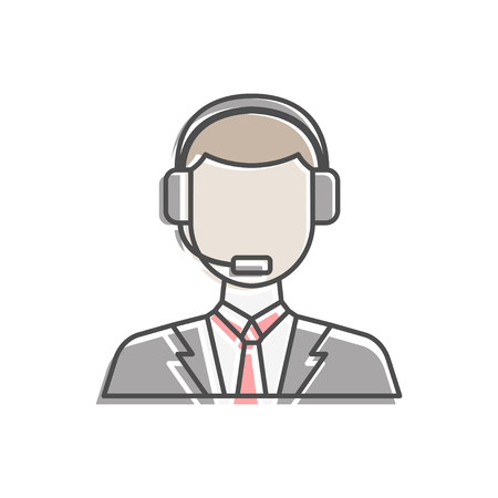 Male operator icon symbol. Premium quality isolated call center element in trendy style.