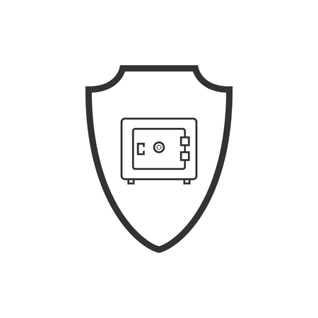 Abstract security vector icon illustration isolated on black background. Shield security icon. Lock security icon. Standard-Bild - 120067380