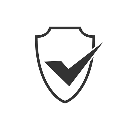 Abstract security vector icon illustration isolated on black background. Shield security icon. Lock security icon. Standard-Bild - 120067377