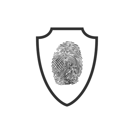 Abstract security vector icon illustration isolated on black background. Shield security icon. Lock security icon. Çizim