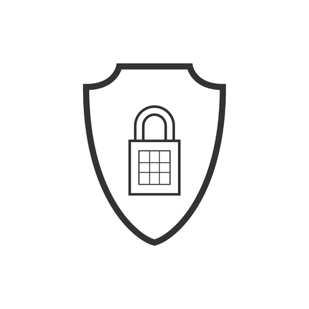 Abstract security vector icon illustration isolated on black background. Shield security icon. Lock security icon. Standard-Bild - 120067381