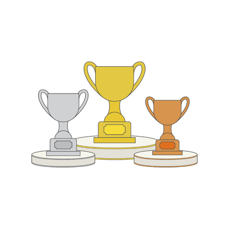 Gold, Silver and Bronze Trophy Cup on prize podium. First place award. Different champions or winners cups in flat style. Vector illustration Illustration