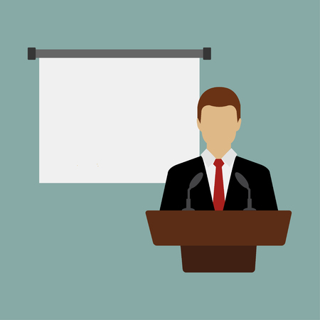 Business conference, business meeting. Man at rostrum in front of audience. Public speaker giving a talk at conference hall. Orator at tribune concepts. Modern flat design vector illustration. Standard-Bild - 124561817