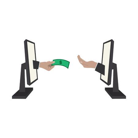Money handover. One hand giving money bills to another hand. Standard-Bild - 124561819