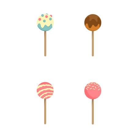 Vector set of colorful lollipop on white background Standard-Bild - 124561820