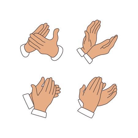 claping hands icon from party outline collection. Thin line claping hands icon isolated on white background Standard-Bild - 120067483