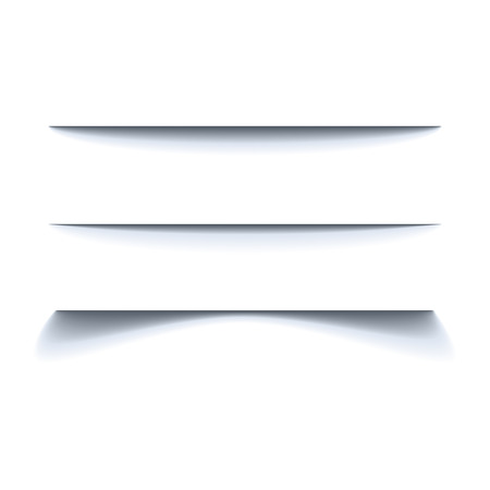 Set of black shadow for page tab dividers. Vector isolated on white background. Collection paper shadow effect Standard-Bild - 124561824