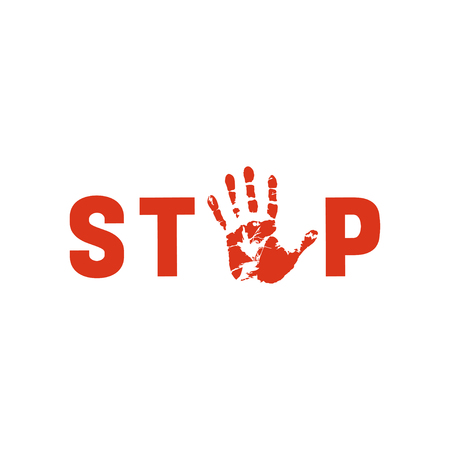 Symbol or sign stop corruption. Red stamp with text stop corruption over black hand corruption. Flat icon. Abstract vector illustration