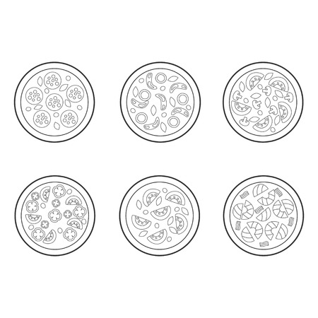 Pizza in line sketch art style. Vector illustration