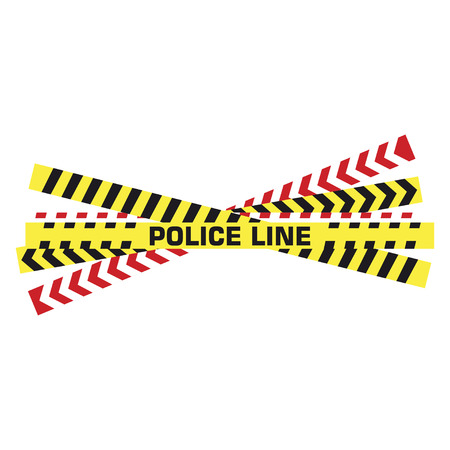 Police tape. Yellow taped barricade warning danger police stripes crime safety line attention border barrier, flat vector set Standard-Bild - 120067494