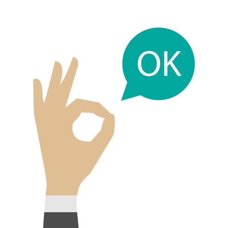 ok hand icon. OK sign vector illustration.