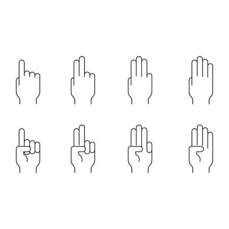 Set of gesture in modern thin line style. High quality black outline multi touch symbols for web site design and mobile apps. Simple linear hand pictograms on a white background