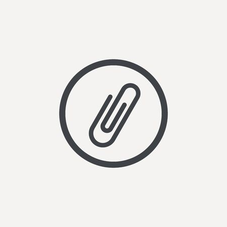 Paper clip icon in trendy flat style isolated on grey background. Ilustrace