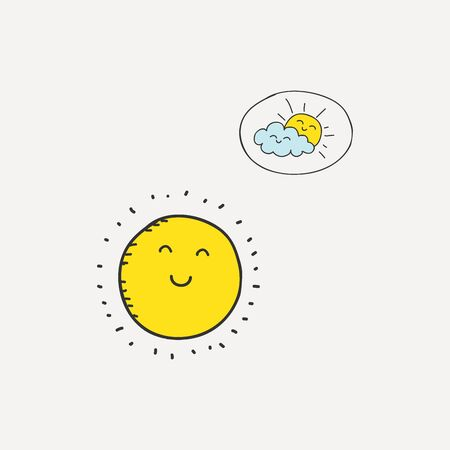 Color Sun cloud icon isolated on background. Modern flat pictogram, business, marketing, internet concept.
