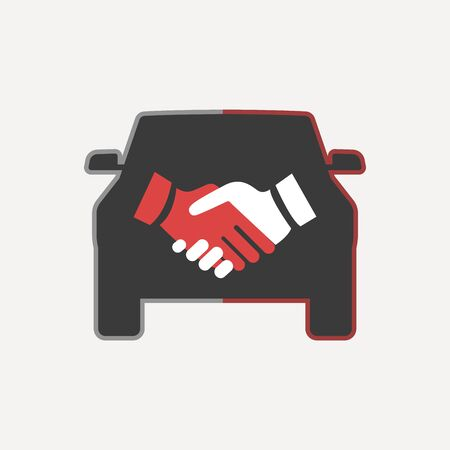 Car Deal with Hand shake symbol Template Illustration