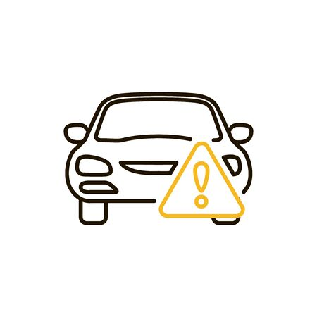car caution, isolated icon on white background, auto service, car repair