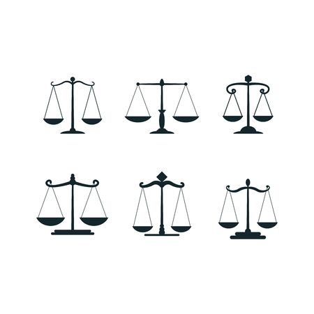 Vector justice scales. Justices scale set or simple court decision icons, corruption and law balancing isolated on white background