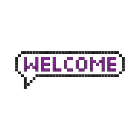 welcome pixel style icon illustration