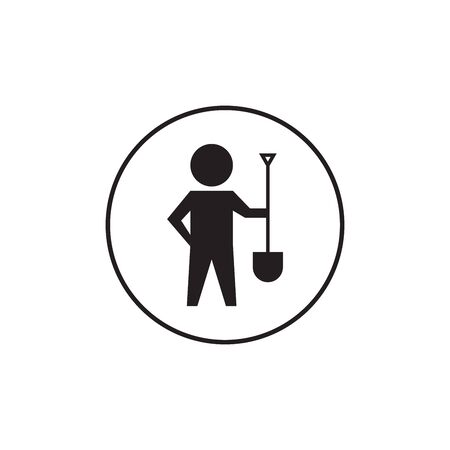 Digger Man with Spade Icon illustration on white background