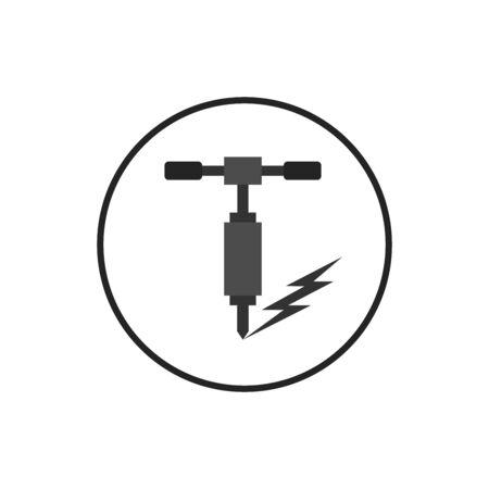 Ikona wiercenia perforatora. wypełniony znak płaski dla koncepcji mobilnej i projektowania stron internetowych. Wiertarka elektryczna i ikona glifów ściennych. Symbol narzędzia budowlanego, ilustracja logo.