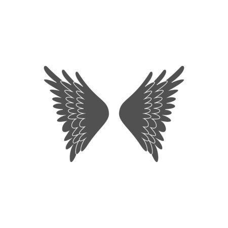 Set of heraldic wings or angel wings drawn black lines. illustration Stock fotó - 129792634