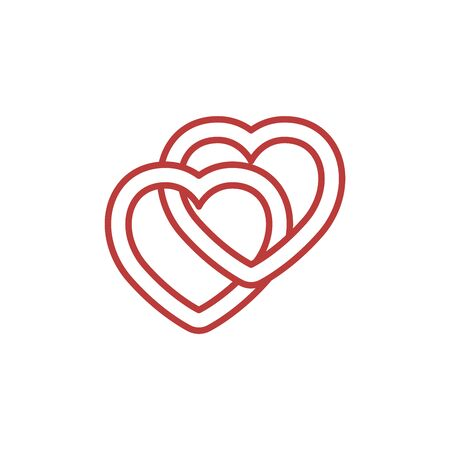 Red heart set. Love icons isolated on white background. Collection of flat heart icons for love symbol, icon shape, greeting card and Valentines day. illustration concept