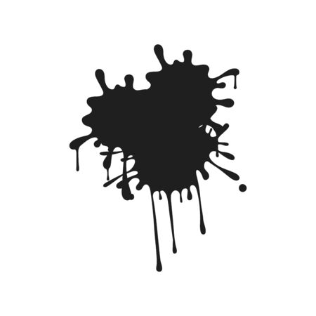 abstract black ink splash background, vector grunge paint brush