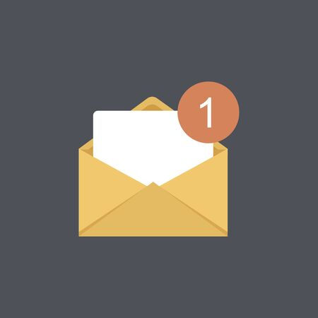 One incoming message, open message icon, notification. Illustration, isolated