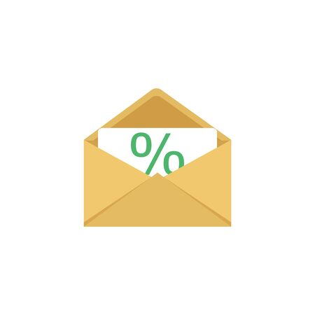 One incoming message, open message icon, notification. Illustration, isolated.