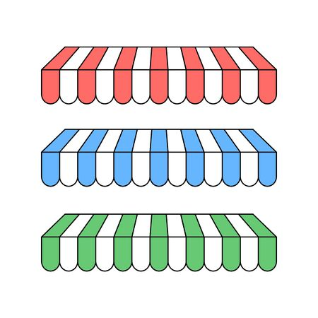 Set of colorful striped awnings for shop and marketplace. flat style