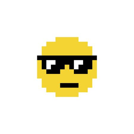 A cool emoji emoticon face in sunglasses icon in a pixel art 8 bit video game style Иллюстрация
